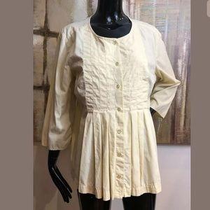 J. Jill Yellow Pintuck Cotton Blouse Top Large